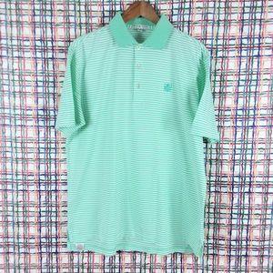 Peter Millar Striped Polo Golf Shirt - M